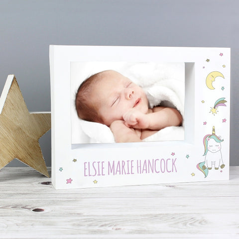 Buy Personalised Baby Unicorn 7x5 Box Photo Frame
