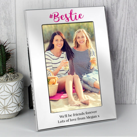 Personalised #Bestie 4x6 Silver Photo Frame
