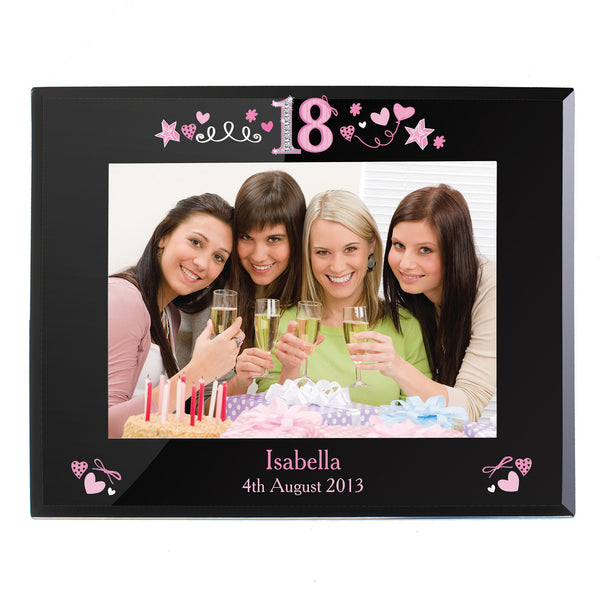 Buy Personalised 18th Birthday Black Glass 7x5 Frame