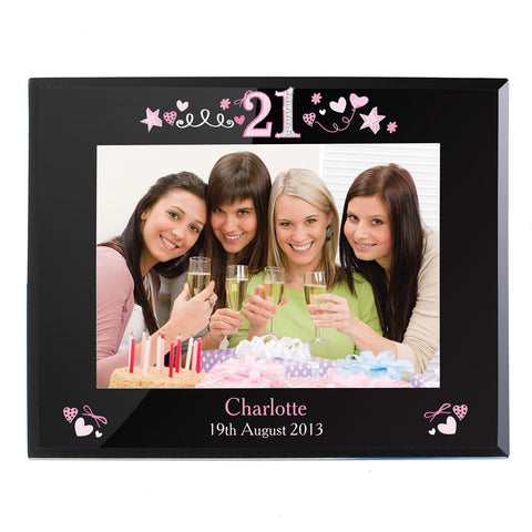 Personalised 21st Birthday Black Glass 7x5 Photo Frame