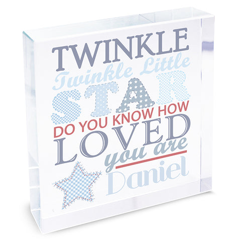 Buy Personalised Twinkle Boys Large Crystal Token