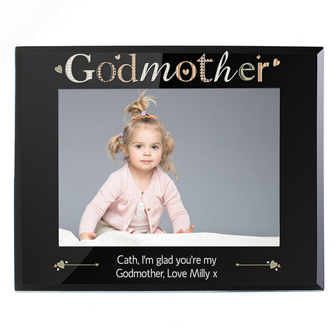 Buy Personalised Godmother Black Glass 7x5 Photo Frame