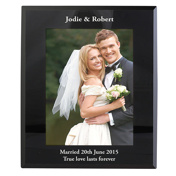 Personalised Portrait Black Glass Photo Frame 5x7
