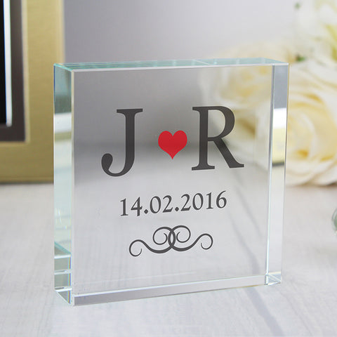 Personalised Red Monogram Large Crystal Token | ShaneToddGifts.co.uk