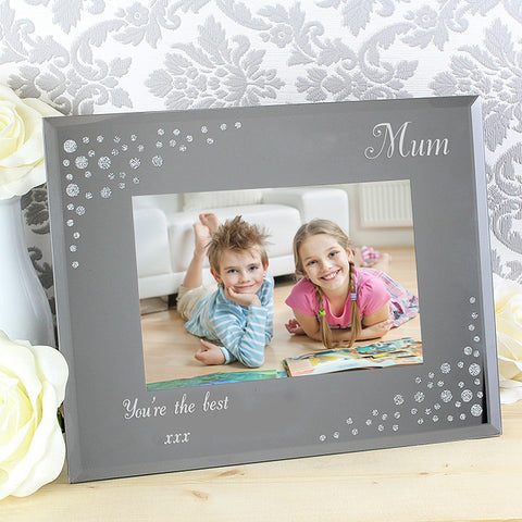 Personalised Any Message Diamante Landscape 6x4 Glass Photo Frame | ShaneToddGifts.co.uk