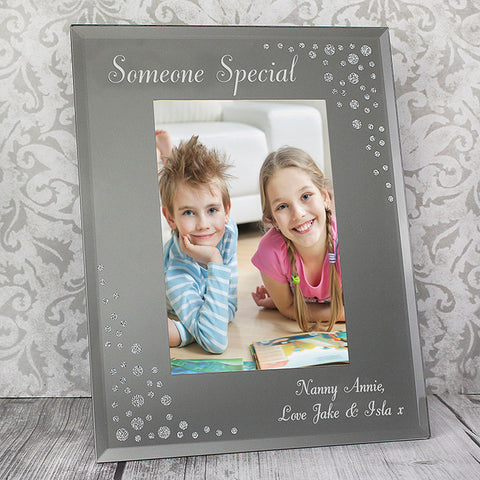 Personalised Any Message Diamante 6x4 Portrait Glass Photo Frame - Shane Todd Gifts UK