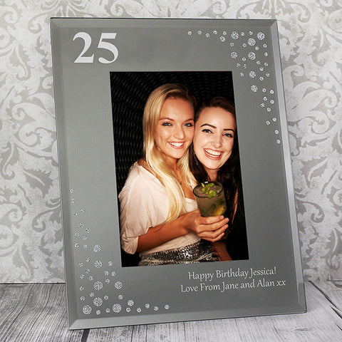 Personalised Big Age 4x6 Diamante Glass Photo Frame