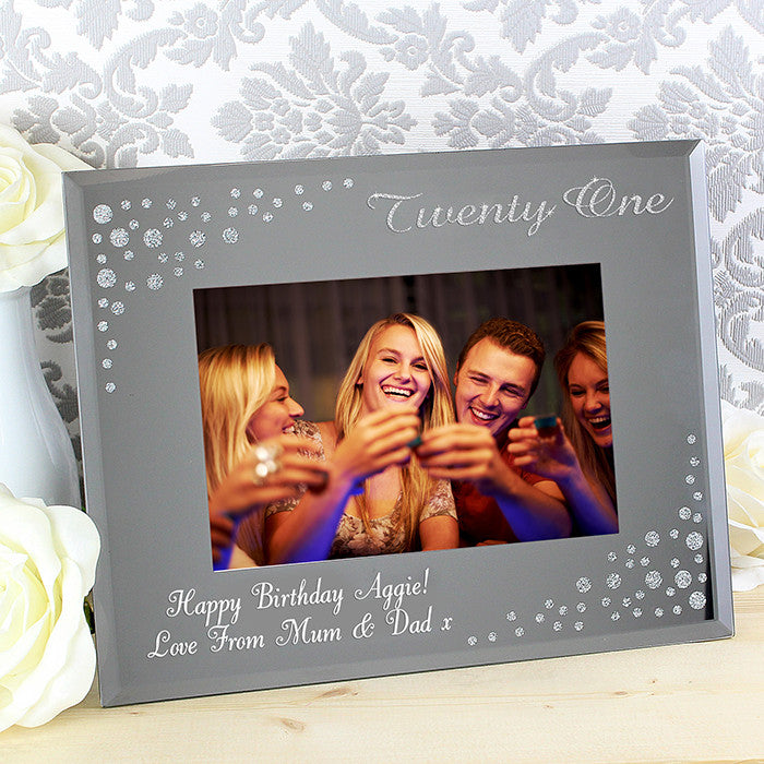 Personalised Twenty One /  21st  Diamante 6x4 Glass Photo Frame