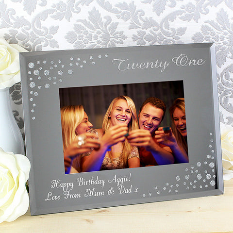 Buy Personalised Twenty One /  21st  Diamante 6x4 Glass Photo Frame