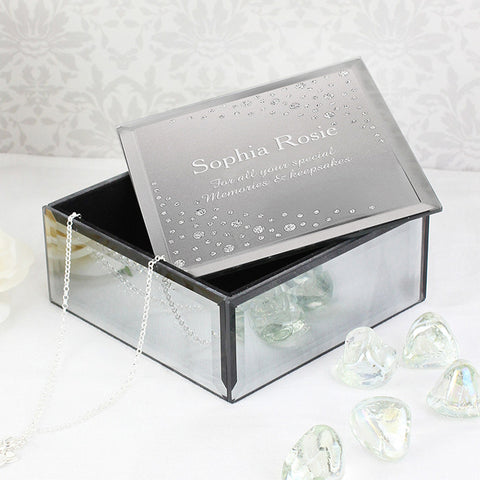 Buy Personalised Diamante Name & Message Glass Trinket Box