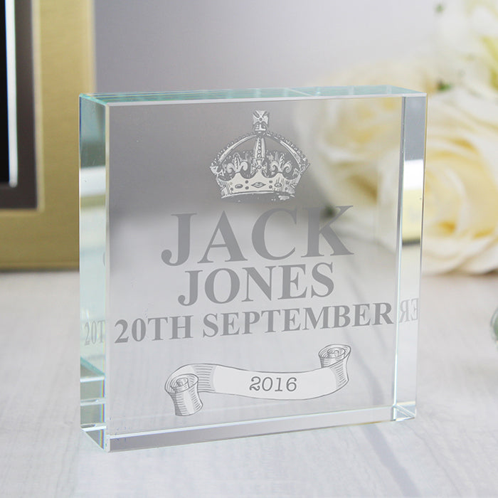 Personalised Royal Crown Crystal Token