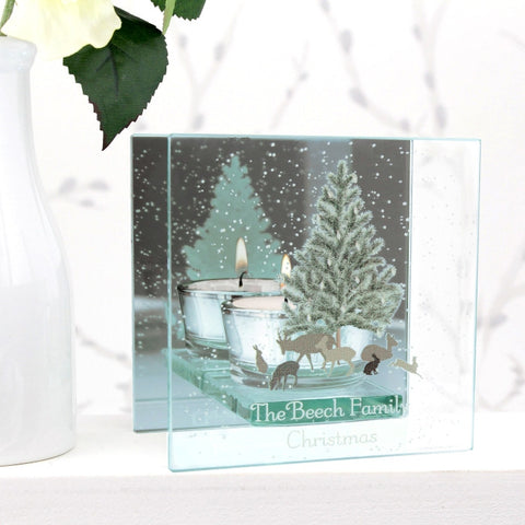 Buy Personalised A Winter's Night Mirrored Glass Tea Light Holder