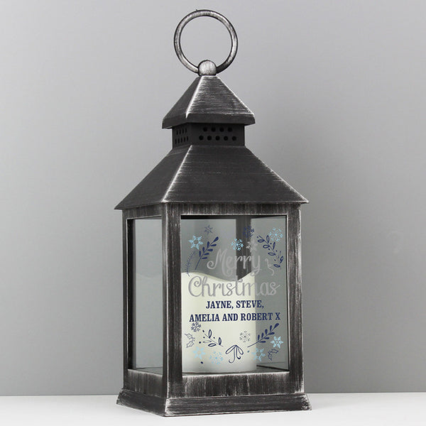 Personalised Christmas Frost Black Lantern - Shane Todd Gifts UK