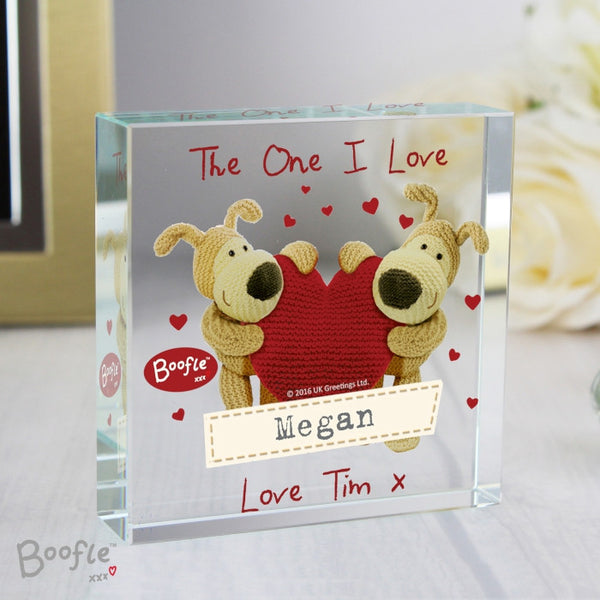 Personalised Boofle Shared Heart  Crystal Token