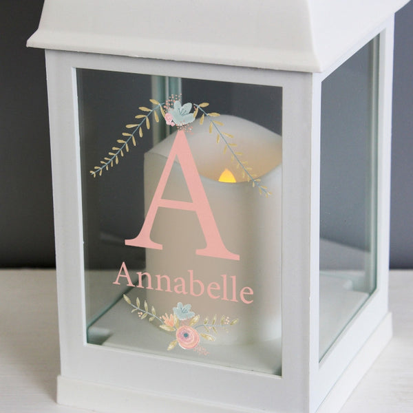 personalised-floral-bouquet-white-lantern