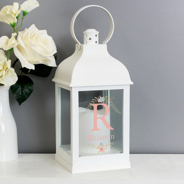 Buy Personalised Floral Bouquet White Lantern