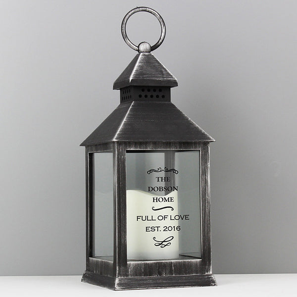 Personalised Antique Scroll Black Lantern - Shane Todd Gifts UK