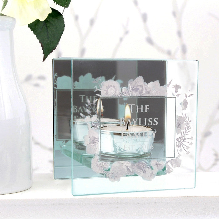 Personalised Soft Watercolour Mirrored Glass Tea Light Holder - Shane Todd Gifts UK