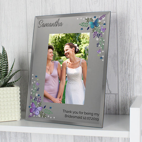 Buy Personalised Butterfly 4x6 Diamante Glass Photo Frame