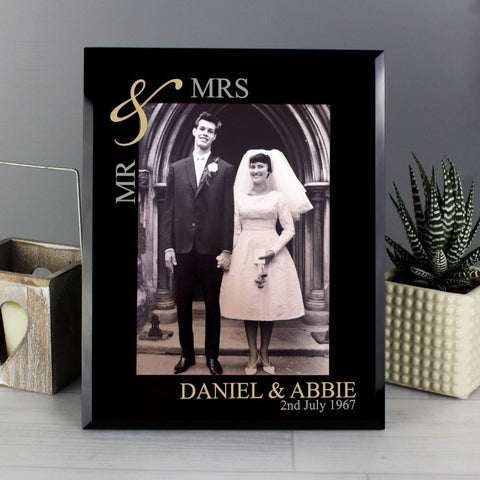 Personalised Gold Couples Black Glass Photo Frame