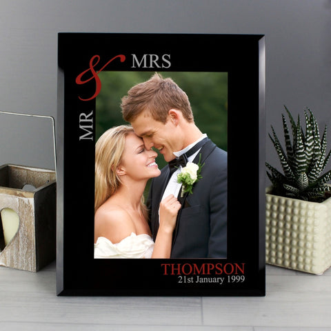 Personalised Ruby Couple's Black Glass Frame