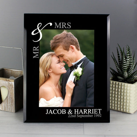 Personalised Silver Couple's Black Glass Frame