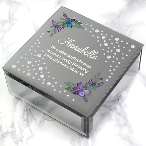 Personalised Floral Butterfly Diamante Trinket Box