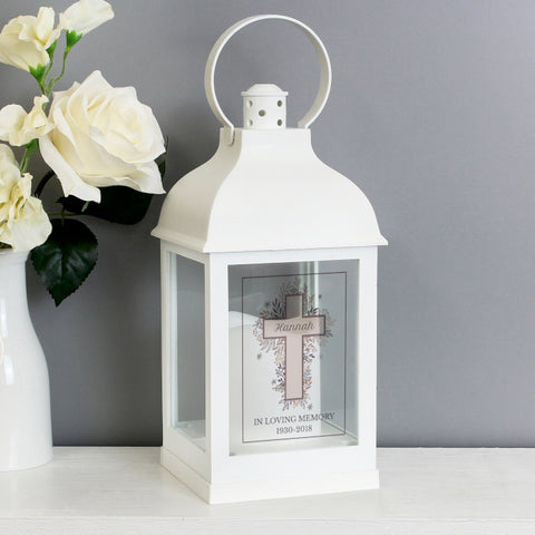 Buy Personalised Floral Cross White Lantern