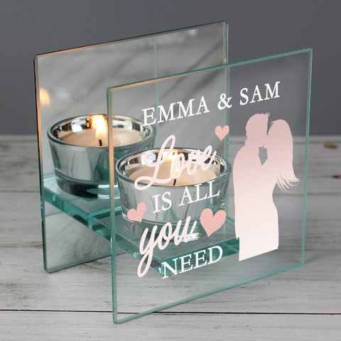 Personalised 'Love is All You Need' Mirrored Glass Tea Light Holder