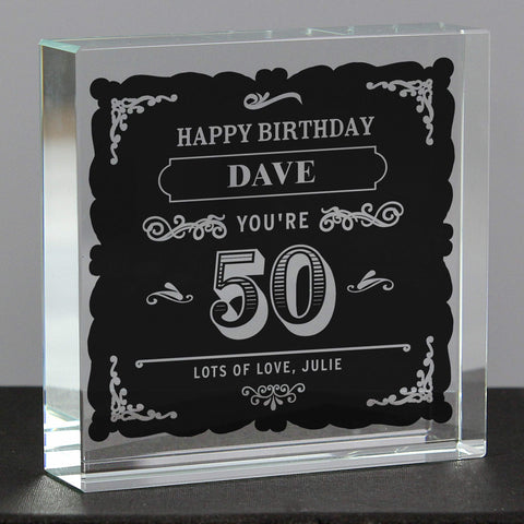 Personalised Birthday Vintage Typography Crystal Token