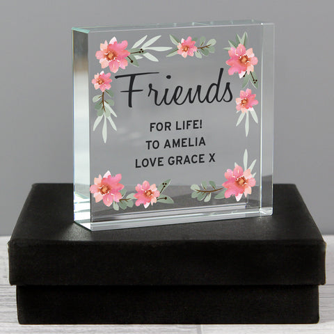 Personalised Floral Sentimental Crystal Token