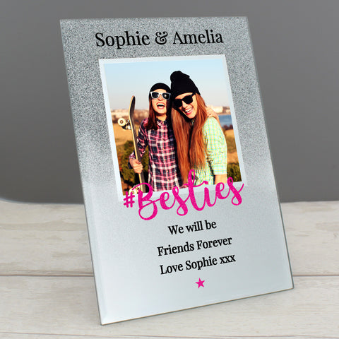 Personalised #Bestie 4x4 Glitter Glass Photo Frame