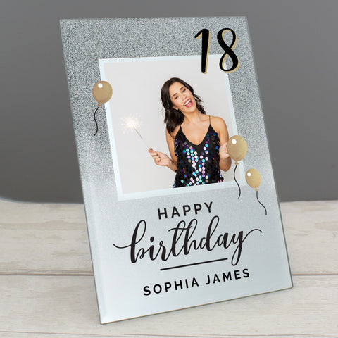 Personalised Birthday 4x4 Glitter Glass Photo Frame