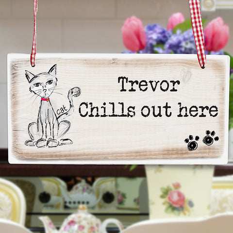 Buy Personalised Cat Wooden Sign