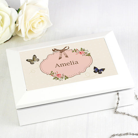 Buy Personalised Delicate Butterfly White Jewellery Box