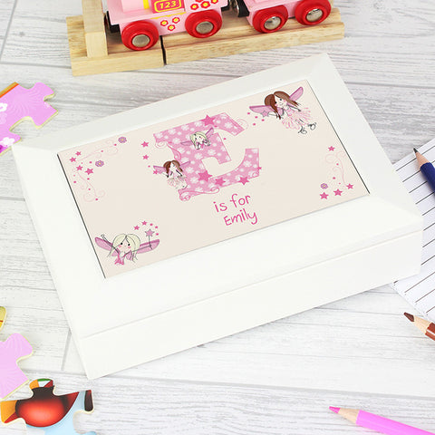 Personalised Fairy Letter White Jewellery Box