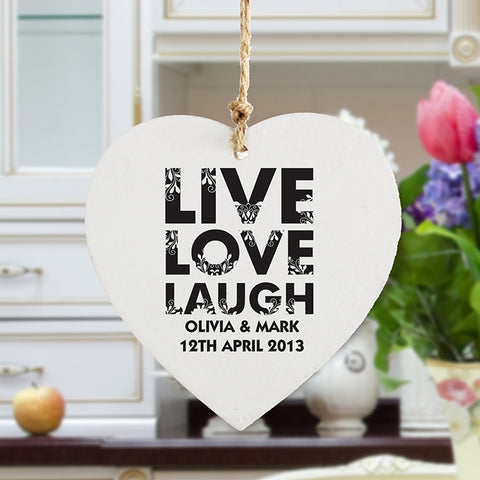 Personalised Live Love Laugh Wooden Heart Decoration