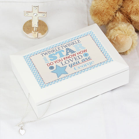 Buy Personalised Twinkle Boys White Keepsake Box