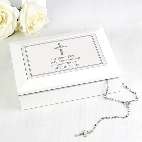 Buy Personalised Silver Cross White Wooden Keepsake Box