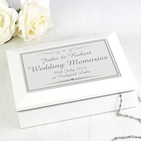 Personalised Silver Elegant Wooden Jewellery Box | ShaneToddGifts.co.uk