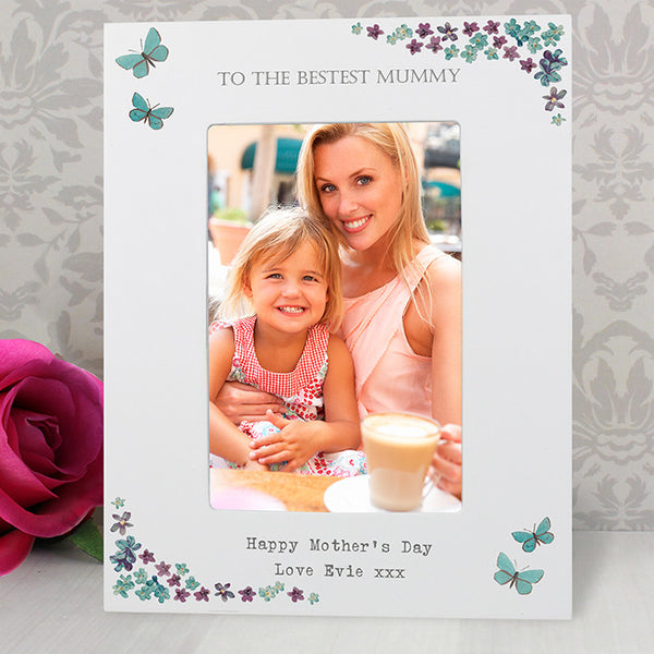 Personalised Forget Me Not 4x6 White Wooden Photo Frame