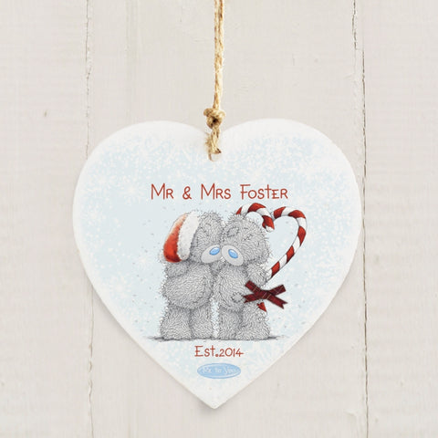 Personalised Me To You Couple Christmas Wooden Heart Decoration | ShaneToddGifts.co.uk