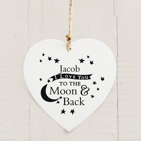 Buy Personalised To the Moon and Back... Wooden Heart Decoration