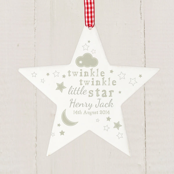 Personalised Twinkle Twinkle Wooden Wooden Star Decoration