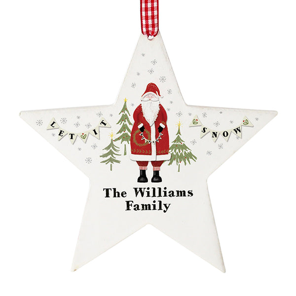 personalised-father-christmas-wooden-star-decoration