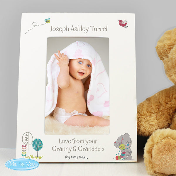 Personalised Tiny Tatty Teddy Cuddle Bug White 4x6 Frame