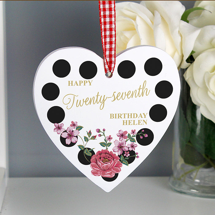 Personalised Floral Dot Wooden Heart Decoration, Home & Garden by Low Cost Gifts