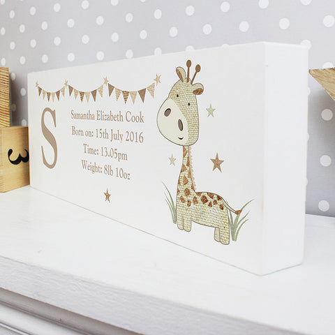 Buy Personalised Hessian Giraffe Mantel Block