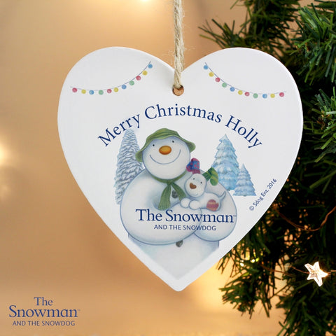 Buy Personalised The Snowman and the Snowdog Wooden Heart Decoration