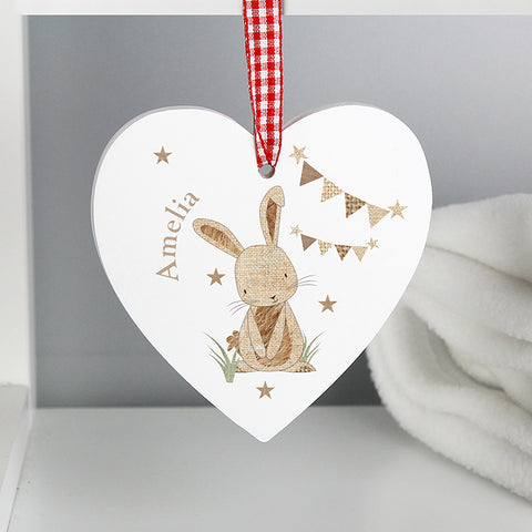 Buy Personalised Hessian Rabbit Wooden Heart Decoration